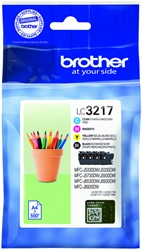 Inktcartridge Brother LC-3217 zwart + 3 kleuren