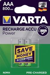 Batterij oplaadbaar Varta 2xAAA 800mAh ready2use