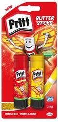 Lijmstift Pritt Glitter 2x20gr rood en geel op blister