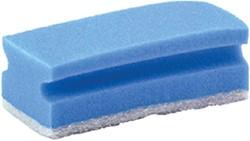 Schuurspons blauw/wit met greep 7x14cm 10 stuks