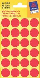 Etiket Avery Zweckform 3004 rond 18mm rood 96stuks