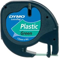 Labeltape Dymo Letratag 91204 plastic 12mm zwart op groen