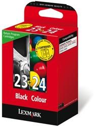 Inkcartridge Lexmark 18C1419E 23 + 24 prebate zwart + kleur
