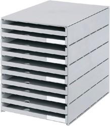 Ladenbox Styroval 10 laden grijs open