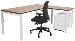 Opstelling tafel serie 55 180X80cm inclusief aanbouwblad ladenblok Serie 60 en bureaustoel serie 10