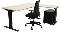 Opstelling tafel serie 50 180X80cm inclusief aanbouwblad ladenblok Serie 60 en bureaustoel serie 10