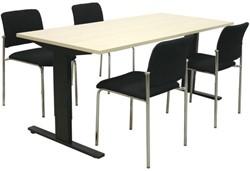 Opstelling tafel serie 50 180X80cm met 4 x bezoekersstoel serie 15