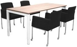 Opstelling tafel serie 55 180X80cm met 4 x bezoekersstoel serie 20
