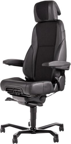 Bureaustoel 24-uurs, inzetbaar tot 200 kg - Mix Xtreme/Leder Zwart - Standaard Wielen (voor zachte ondergrond)
