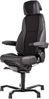 Bureaustoel 24-uurs, inzetbaar tot 200 kg - Mix Xtreme/Leder Zwart - Rubber Wielen (voor harde ondergrond)