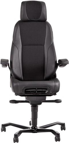Bureaustoel 24-uurs, inzetbaar tot 200 kg - Mix Xtreme/Leder Zwart - Standaard Wielen (voor zachte ondergrond)-2