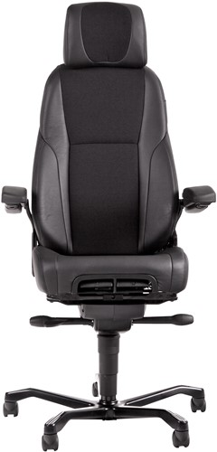 Bureaustoel 24-uurs, inzetbaar tot 200 kg - Mix Xtreme/Leder Zwart - Rubber Wielen (voor harde ondergrond)-2