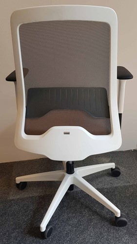 Bureaustoel Interstuhl New Every EV211 wit / zitting ER21 grijsbeige, netbespanning beigegrijs 8125-2