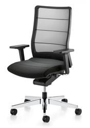 Bureaustoel Interstuhl Airpad zwart met gepolijst voetkruis