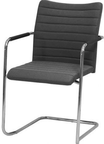 Bezoekersstoel Huislijn Alfa hoge rug Zwart Padding gestoffeerd