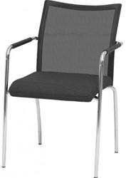 Bezoekersstoel Huislijn Alfa hoge rug netbespanning Zwart Padding gestoffeerd