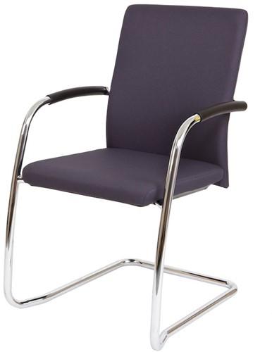 Bezoekersstoel Van Hilten Huislijn BG24 - Oasis Grijs (9114) - Kunststof Vloerglijder met vilt (voor harde ondergrond)
