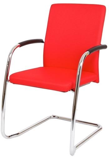 Bezoekersstoel Van Hilten Huislijn BG24 - Oasis Rood (9555) - Kunststof Vloerglijder met vilt (voor harde ondergrond)