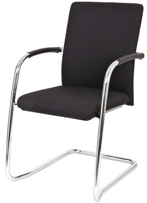 Bezoekersstoel Van Hilten Huislijn BG24 - Oasis Zwart (9111) - Kunststof Vloerglijder (voor zachte ondergrond)