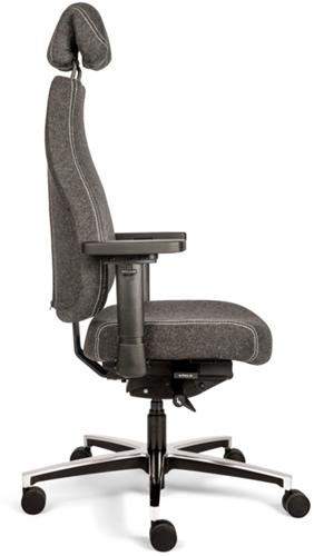 Bureaustoel Bio Seat X HR met drukverlagende zitting en instelbaar mechaniek, Wolvilt Middengrijs 602-2