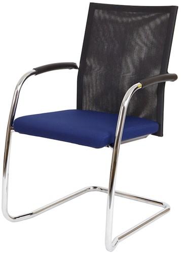 Bezoekersstoel Van Hilten Huislijn BN24 - Oasis Blauw (9212) - Kunststof Vloerglijder met vilt (voor harde ondergrond)