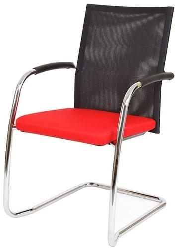 Bezoekersstoel Van Hilten Huislijn BN24 - Oasis Rood (9555) - Geen Vloerglijder
