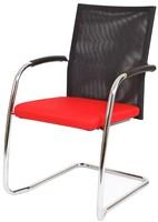 Bezoekersstoel Van Hilten Huislijn BN24 - Oasis Rood (9555) - Kunststof Vloerglijder met vilt (voor harde ondergrond)