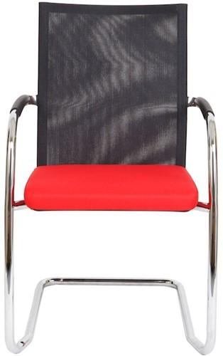 Bezoekersstoel Van Hilten Huislijn BN24 - Oasis Rood (9555) - Kunststof Vloerglijder (voor zachte ondergrond)-2