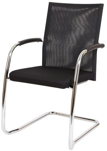 Bezoekersstoel Van Hilten Huislijn BN24 - Oasis Zwart (9111) - Kunststof Vloerglijder (voor zachte ondergrond)