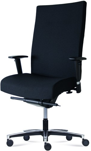 Bureaustoel Manager XXL inzetbaar tot 200 kg Leder Zwart