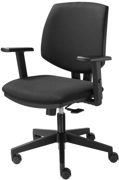 Bureaustoel Met Rubberen Wielen.Bureaustoel Basic Zitting En Rug In Zwarte Stof Standaard Wielen
