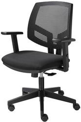 Bureaustoel Basic zitting in zwarte stof rug in netwave