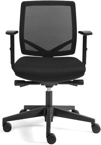 Bureaustoel Basic Plus zitting zwarte stof rugleuning netbespanning-2
