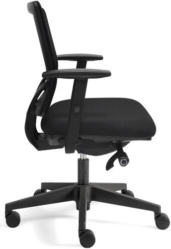Bureaustoel Basic Plus zitting zwarte stof rugleuning netbespanning-3