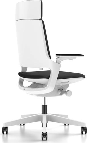 Bureaustoel Interstuhl Movy met hoge rugleuning 23M6 wit/zwart met NPR armlegger-3