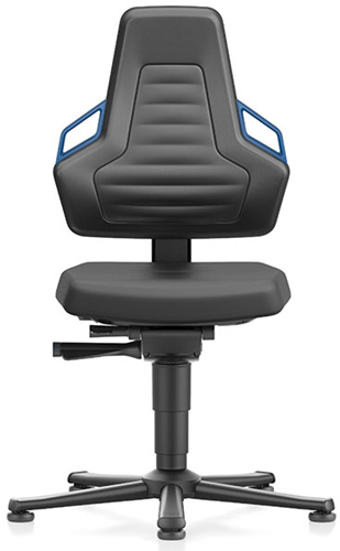 Industriestoel Bimos Nexxit 1 met glijders universeel inzetbaar - Standaard Armleggers - Blauwe Handgrepen