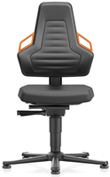Industriestoel Bimos Nexxit 1 met glijders universeel inzetbaar - Geen Armleggers - Oranje Handgrepen