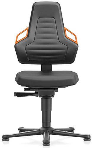 Industriestoel Bimos Nexxit 1 met glijders universeel inzetbaar - Standaard Armleggers - Oranje Handgrepen