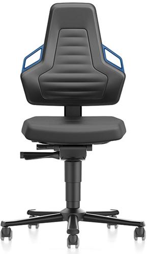 Industriestoel Bimos Nexxit 2 met wielen universeel inzetbaar - Geen Armleggers - Blauwe Handgrepen