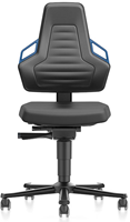 Industriestoel Bimos Nexxit 2 met wielen universeel inzetbaar - Standaard Armleggers - Blauwe Handgrepen