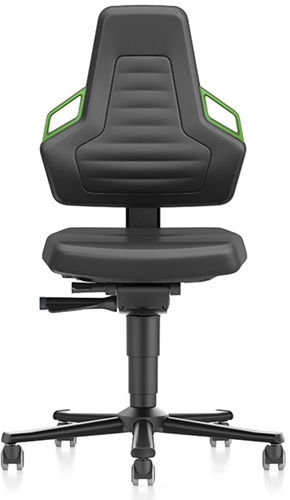 Industriestoel Bimos Nexxit 2 met wielen universeel inzetbaar - Standaard Armleggers - Groen Handgrepen