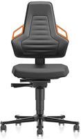 Industriestoel Bimos Nexxit 2 met wielen universeel inzetbaar - Standaard Armleggers - Oranje Handgrepen