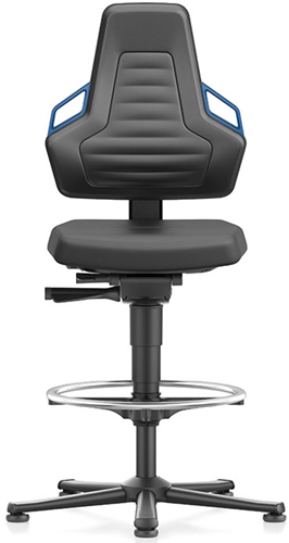 Industriestoel Bimos Nexxit 3 met glijders universeel inzetbaar - Geen Armleggers - Blauwe Handgrepen - Standaard Vloerglijders