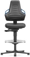 Industriestoel Bimos Nexxit 3 met glijders universeel inzetbaar - Geen Armleggers - Blauwe Handgrepen - Rubber Zit-Stop-Wielen