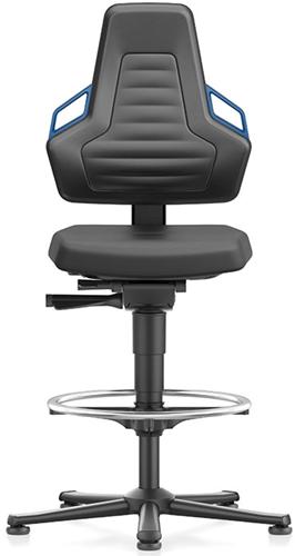 Industriestoel Bimos Nexxit 3 met glijders universeel inzetbaar - Standaard Armleggers - Blauwe Handgrepen - Rubber Zit-Stop-Wielen