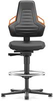 Industriestoel Bimos Nexxit 3 met glijders universeel inzetbaar - Geen Armleggers - Oranje Handgrepen - Rubber Zit-Stop-Wielen