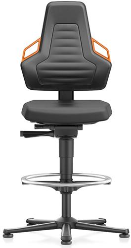 Industriestoel Bimos Nexxit 3 met glijders universeel inzetbaar - Standaard Armleggers - Oranje Handgrepen - Rubber Zit-Stop-Wielen