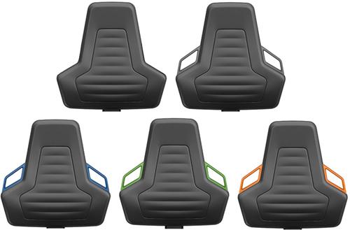 Industriestoel Bimos Nexxit 3 met glijders universeel inzetbaar - Standaard Armleggers - Oranje Handgrepen - Rubber Zit-Stop-Wielen-2