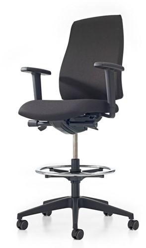 Bureaustoel Pro-Basic Counter - Lucia Zwart (5800) gestoffeerd - Rubber wielen