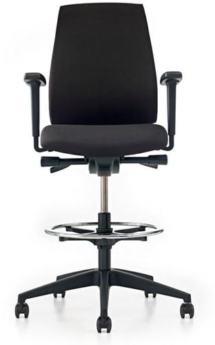 Bureaustoel Pro-Basic Counter - Lucia Zwart (5800) gestoffeerd - Rubber wielen-2